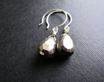 Pyrite Dangle Earrings, Sterling Silver Briolette Earrings, Silver and Gold Earrings