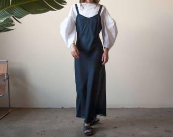 blue sheer slip dress / slinky maxi dress / long bias cut dress / s  / m / 2247d / B7