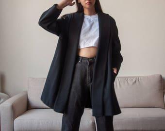 black wool swing coat / black minimalist wrap coat / oversized heavy weight winter coat / s / 2242o / R4