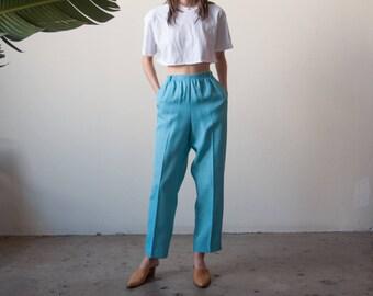 blue woven lounge trousers / elastic waist pants / baggy pants / m / 2667t / B9