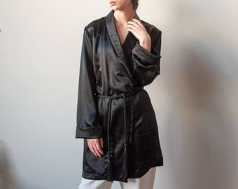 ELLEN TRACY black satin robe blazer / oversized black jacket / minimalist belted boyfriend blazer / s / m / 2225o