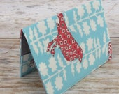 Passport Holder Cover Case Travel Cruise Vacation Holiday Honeymoon - Red Bird on Blue / White - Summer in the City Fabric