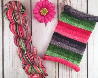 Le Grincheaux Noel: Hand-dyed gradient self-striping sock yarn, 75/25 SW merino/nylon