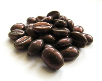 Olive Green Czech Glass Coffee Bean Beads with Metallic Purple Finish, 11mm x 8mm - 30 pieces