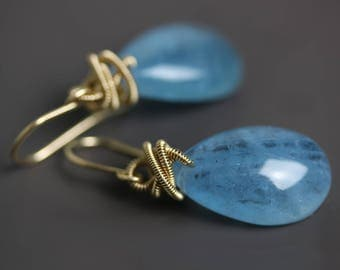 Aquamarine Drops with Gold Fill Coils. Aquamarine Earrings and Gold Fill Wire Wrap.