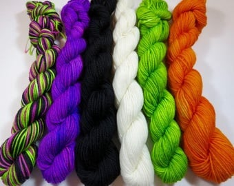 Hand Painted Superwash Merino/Nylon 4-Ply Sock Yarn Mini Skeins Set (20grams/92yards) -- Frankenstein and Friends (120 grams 552 yards)