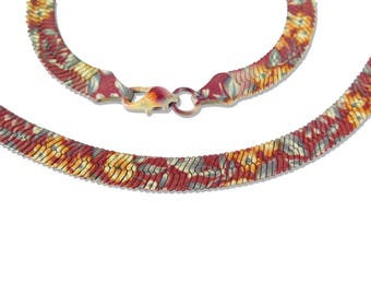 Vintage Floral Printed Serpentine Necklace - 18 Inches (1x) (C678)