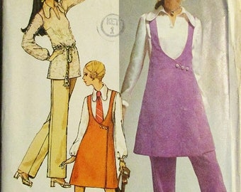 30% OFF SALE 1970s Sewing Pattern Simplicity 9088 Misses Mini-Jumper, Overblouse & Pants Pattern Size 12 Bust 34