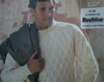 Sweater Knitting Pattern Jaeger 4959 Sizes 36 - 46 Inches 91 - 117 cm DK Weight Yarn Men Vintage Paper Orignal, NOT a PDF