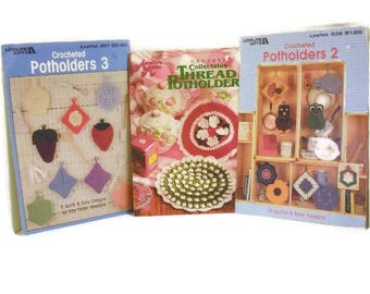 Three Vintage Potholder Design Booklets | Retro Crocheted Pot Holders Instructions