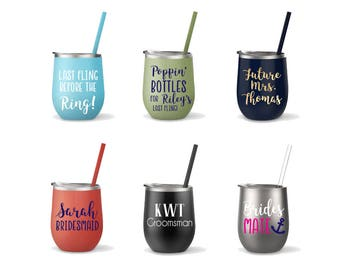 Stainless Steel Wine Cup - Monogrammed Cup with Straw - Insulated Wine Glass - Personalized Tumbler - Bridesmaid Gift - Bachelorette Party