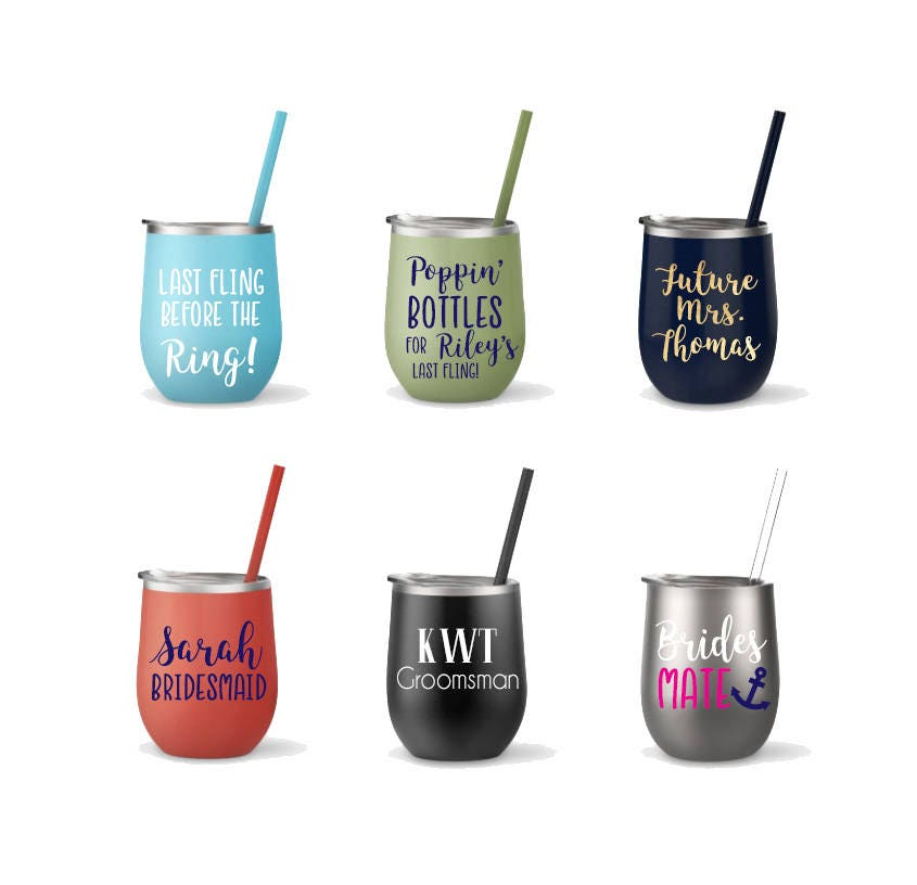 Stainless Steel Wine Cup Monogrammed Cup With Straw