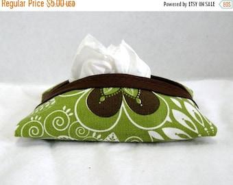 Flash Sale Tissue Cozy Flowers Olive Brown White Tissue Holder Case