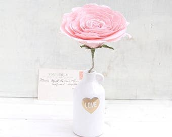 4th Anniversary Flower for Wife Long Stem Everlasting Linen Rose by Cotton Bird Designs Check processing and delivery times