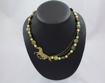 brass horse, green coin freshwater pearls, yellow freshwater pears, brass chain necklace