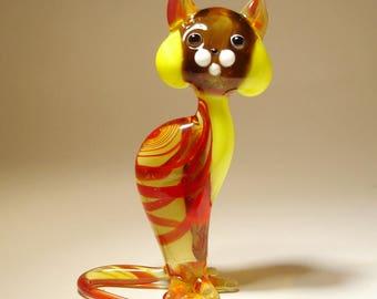 Handmade Blown Glass Art Figurine Animal Red Striped Cat