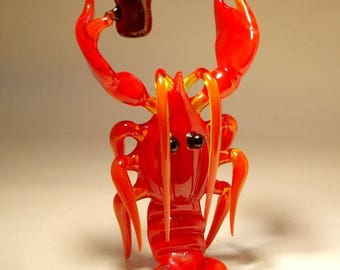 Handmade Blown Glass Figurine Art Sea Creature Red Lobster with a Beer Keg