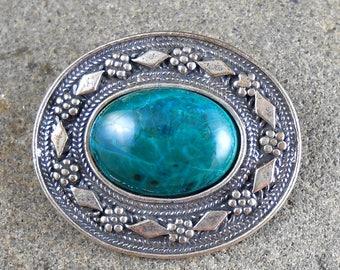 Israeli Pin Pendant Chrysocolla  Sterling ~ Israel Brooch Vintage Blue Green Stone
