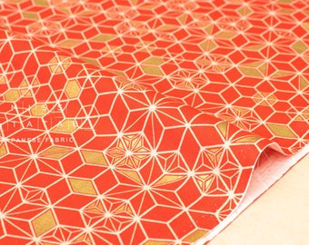Japanese Fabric asagao metallic - orange, gold - 50cm