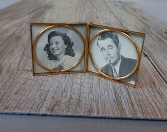 Vintage Miniature Art Deco Brass Photo Frame Mini Hinged Folding Compact Frame