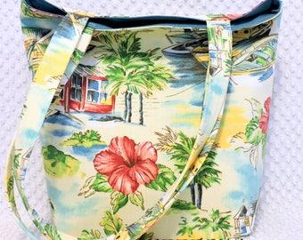 Large Handmade Bohemian Beach Satchel Bag Purse, Key West Beach Handbag