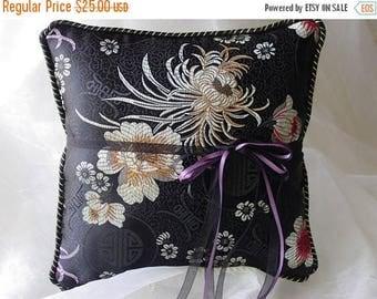 On Sale Elegant Asian Black Asters Ring Pillow-Asian Brocade-Black and Gold Asian Flowers & Symbols-Gold/Black Trim Ring Bearer-Ring Barer-C