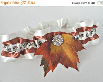 On Sale Ivory and Copper Jeweled Glittering Fall Leaves Garter•Fall Wedding•Autumn Leaves•Fall Bride•Bridal Accessories•Toss•Keepsake•Fall F