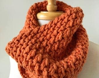 Chunky Hand Knit Merino Wool Blend Neckwarmer, Scarf, ORANGE, Warm, Cozy, Hygge, Winter, Made in New York, Unisex, Bright, Colorful