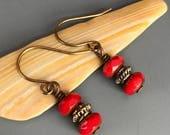 LAST CHANCE SALE Red Czech Glass Picasso Brass Earrings / Red Brass Earrings / Czech Glass Earrings / Picasso Czech Glass Earrings