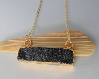Black Druzy Gold Necklace