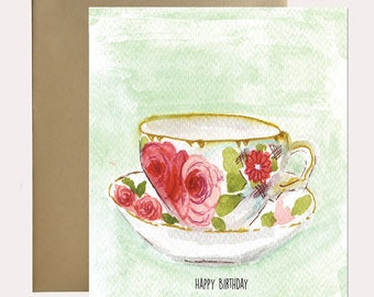 Greeting Card -  Happy Birthday Vintage Cup