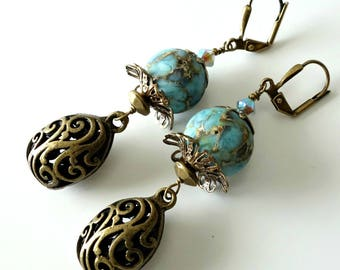 Aqua Lampwork Earrings, Antique Brass Filigree Drops, Swarovski Crystals, Bohemian, Beaded Jewelry, Beaded  Dangle Earrings, OOAK