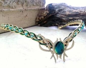 ON SALE Emerald Green Oracle Gem Elven Circlet Tiara Headdress