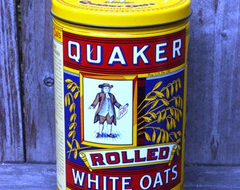 Vintage Quaker Oats Tin for Storage or CUSTOM Scented Soy Wax Candle