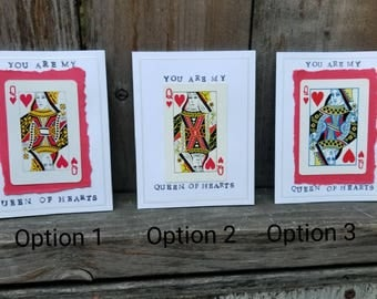 You Are My Queen of Hearts - Blank Greeting Card - Upcycled Playing Card - FREE SHIPPING