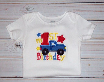 Sample SALE BOYS My First BIRTHDAY Bodysuit Size 12 Months--Ready To Ship-- Star Pickup Truck Birthday