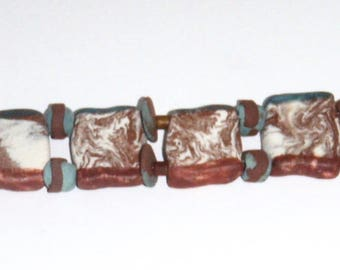 Turquoise Brown Cream Handmade Ceramic Beads One of a Kind Cuff Bracelet