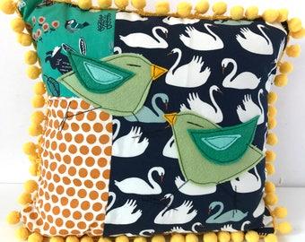 Bird Bird  Organic Cotton Pillows for the Kids Room, patchwork pillow, felt appliqué pillow, bird pillow. children room decor