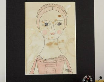 Queen Anne Doll Original Watercolor No. 4 by Lana Manis, Early American, Primitive, Folk Art, Ready to Frame
