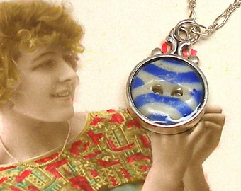 Antique China BUTTON necklace, Victorian stencil with blue on sterling chain. One-of-a-kind button jewellery.