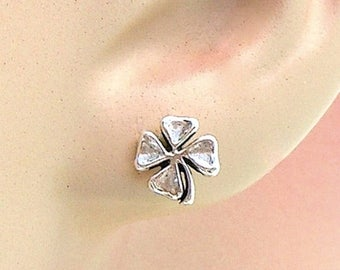 SALE Earrings Four Leaf Clover Sterling Silver Lucky Minimal Ear Studs no. 3488