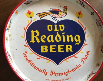 Vintage Old Reading Beer Tin Tray Bareware Pennsylvania Dutch Orang Blue Cream 1950s epsteam