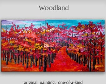 Sale Abstract Painting Original art large Oil Painting, aspen tree art fall Landscape Painting Changing Season by tim lam 48x24x1.3