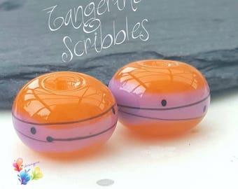 Lampwork Glass Beads Tangerine Scribbles Pair