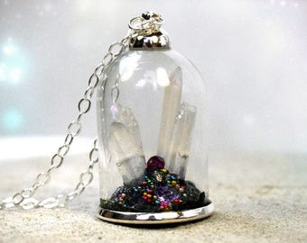 Terrarium Necklace - Crystal Terrarium - Terrarium Pendant - Terrarium Jewelry - glass terrarium - glass orb necklace - crystal point