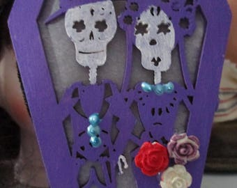 AlTeReD aRt GoTh DaY of the DeAd LiGhT up MiNi CoFFiN HaLLowEEn DecoR OOak SkElEtOns SkuLL