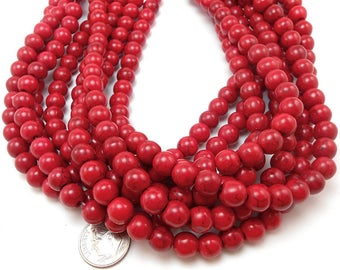 50 Red Howlite Beads 8MM round (H7027-OS)