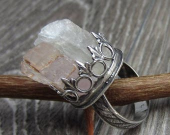 SUMMER SALE RESERVED - Angelic Petalite and Kunzite Crystal Ring in Sterling Silver