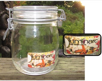 Vintage French Glass Clamp Lid Jar by Luninac, storage container, Made in France, kitchen