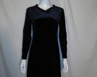 Closing Shop 40%off SALE 90's velvet long sleeve midi short dress